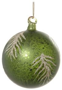 Glaskula grön med glitterlöv