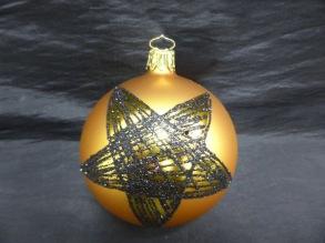 Glaskula matt guld med svart stjärna