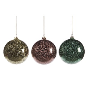 Glaskula antikfärgad grön/brun/röd