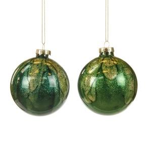 Glaskula grön/guld