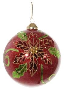Glaskula röd med julstjärna