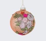 Glaskula rosa med blommor 10 cm