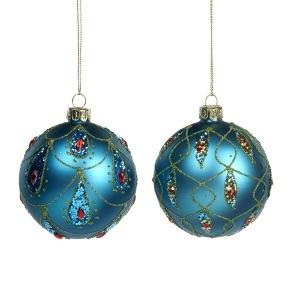Glaskula matt blå med mönster
