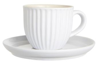 Kopp med fat 135 ml Mynte Pure White - Kopp med fat 135 ml Mynte Pure White