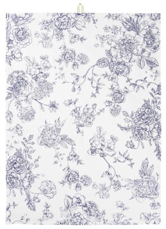 Viskestykke blomster i blåt tryk -