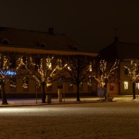Lidköping Handelsbanken kväll vinter-