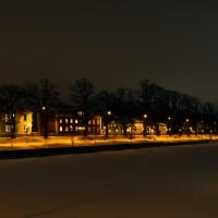 Lidköping Hamngatan kväll vinter-