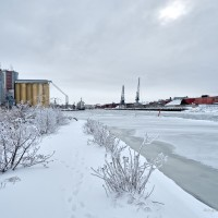 Lidköping hamnen vinter-