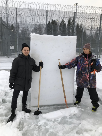 The artists Sebastian Björkman and Helena Bergman working at the courtyard to the Juvenile detention center in Luleå, Sweden