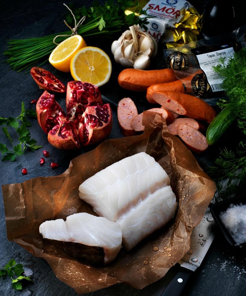 Råvaror-torskrygg-chorizo-Per i Viken-granatäpple