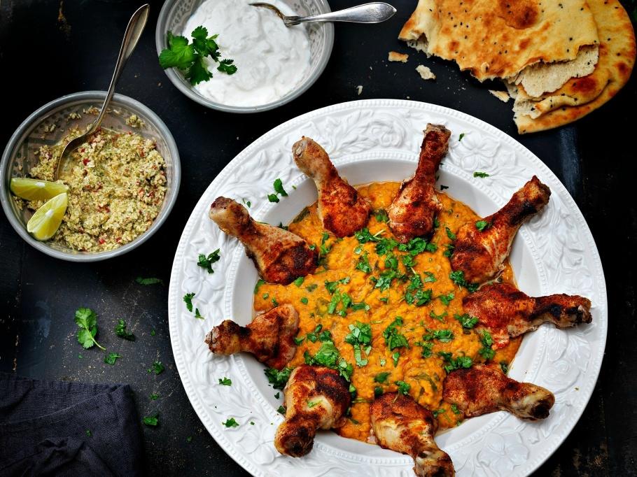 Indisk Daal med ugnstekta glazade kycklingben & het cocoschutney