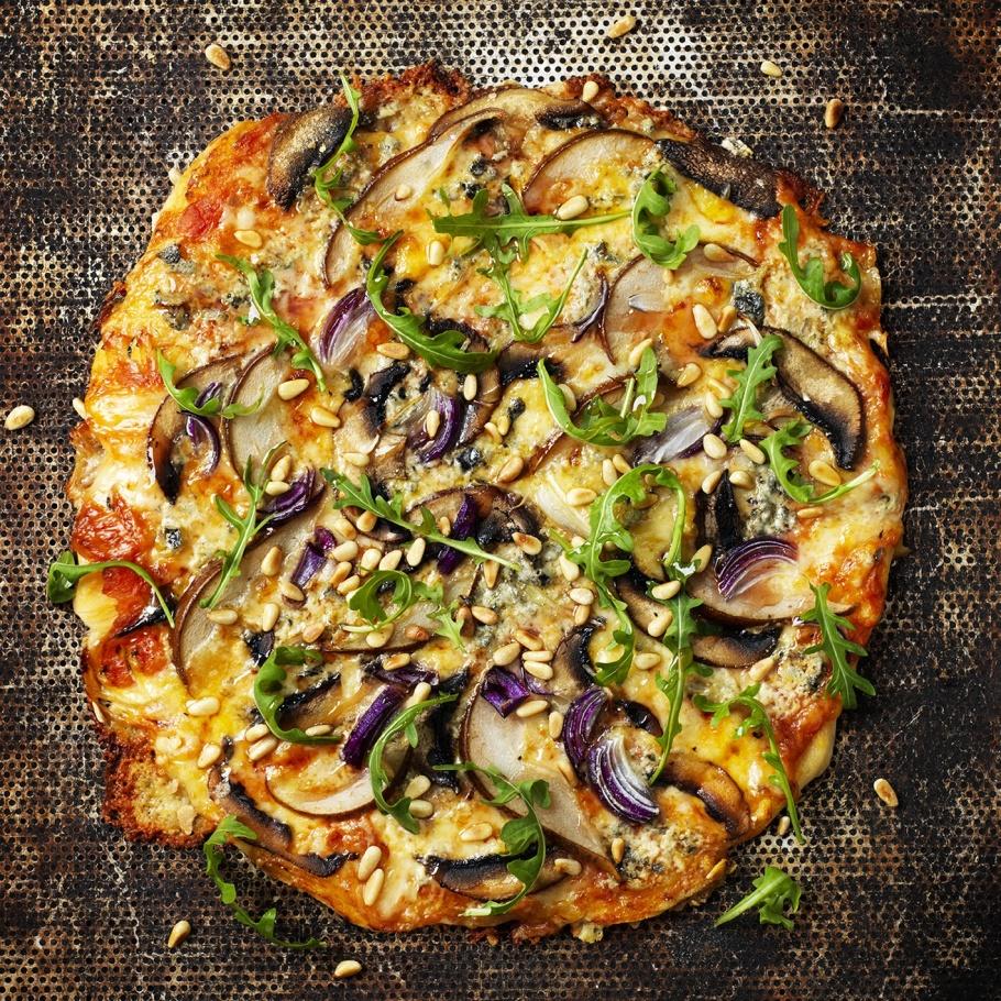pizza:Funghi,pere e tre formaggi