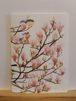 Vikt kort i akvarell med surprise - Vikt akvarellkort med kuvert