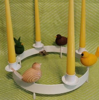 Krans för ljus och dekorativa fåglar/kaniner - Ljuskrans vit