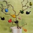 Dekorativa små fåglar hängen - Svart 45 mm
