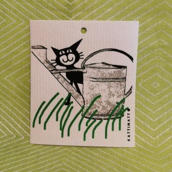 Komposterbar disktrase med motiv trädgårdskatt - Disktrase trädgårdskatt