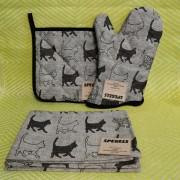 Grytvante, grytlapp och handduk med katter