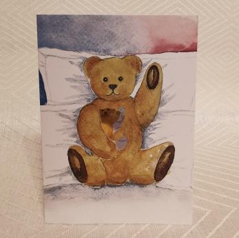 Vikt kort i akvarell med surprise Nalle - Vikt akvarellkort med kuvert