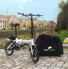 Gaze-Bike Flexline Mini hopfällbar elcykel med rullbar förvaringsväska som tillval.