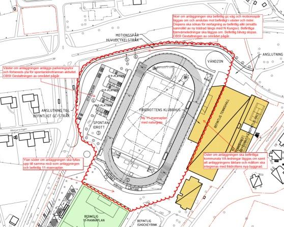 Förslaget om ny friidrottsanläggning som antogs 2017. KLicka på kartan så förstoras den.
