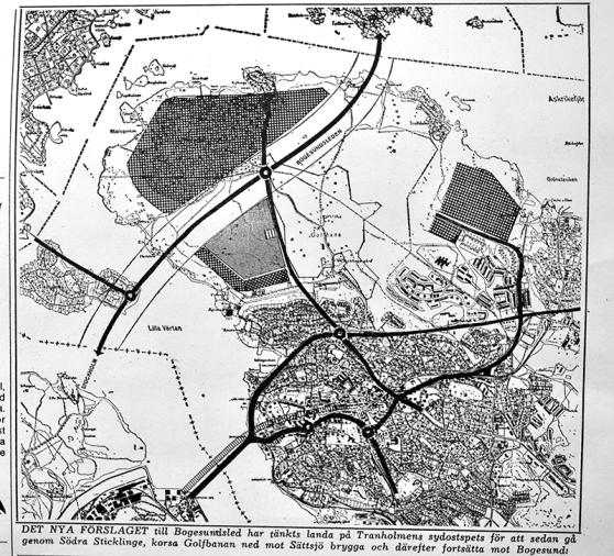 """I ett alternativt förslag skulle """"Skärgårdsleden"""" passera Tranholmen för att sedan gå över södra Sticklinge, korsa golfbanan, gå vidare mot Sättsjö brygga och därefter fortsätta på en bro över Askrikefjärden mot Storholmen och Bogesund. Men inget av detta blev verklighet. Lidingö Tidning."""