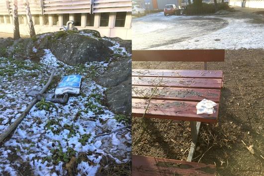 En P-plats mindre och smutsiga bänkar och fimpar – inte så kul i solen.