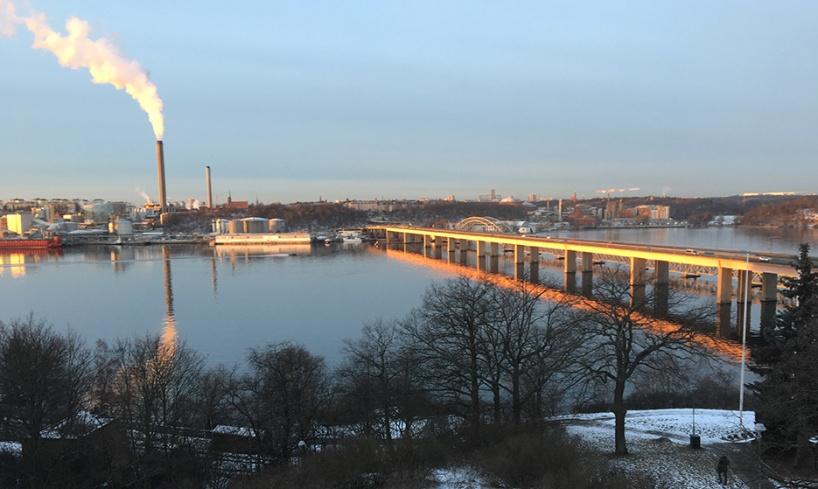 Lidingöbron en vacker morgon. Foto: Inger Grimlund