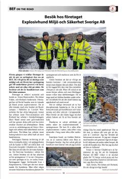 Reportage - dolor, dolekipage, BEF-Nytt  - Explosivhund Miljö & Säkerhet Sverige AB