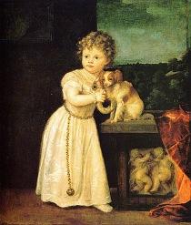 Porträtt av Clarissa Strozzi med hennes Phalène av den Italienska konstnären Titian från 1542