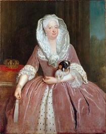 Queen Sophie Dorothea av Prussia med en Phalène från 1737