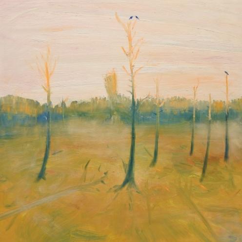 Morgon på hygget, olja på trä, Zidi Holster 2018