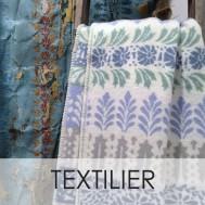 Textilier, ullfuilt i blått mönster