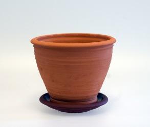 Terracottakrukor med fat - rund modell -