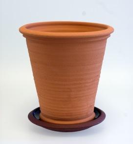 Terracottakrukor med fat - rakmodell - H 20 cm, Diam 18,5 cm