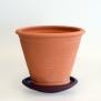 Terracottakrukor med fat - rakmodell - H 16 cm , Diam 18,5 cm