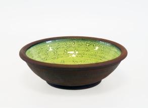 Avtryck - skål grön - H 6,5 cm, Diam 21 cm.