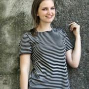 T-shirt smalrandig svart/beige