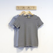 T-shirt smalrandig svart/vit