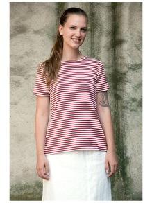 T-shirt smalrandig röd/vit - M