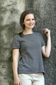T-shirt smalrandig svart/beige - S