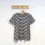 T-shirt smalrandig svart/vit - XXL