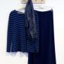 Topp v-ringad marinblå/blå randig