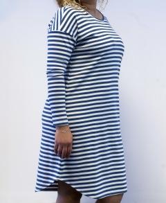 Klänning blå/vit randig - XS