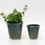 Tidlösa - handdrejade krukor gröna - H13 cm diam 13,5