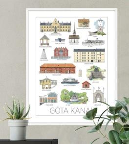 Göta kanals hus, poster 30x40 cm -