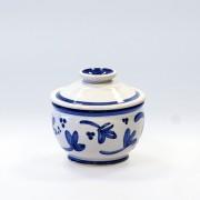 Blå blomma - handdrejad sockerskål