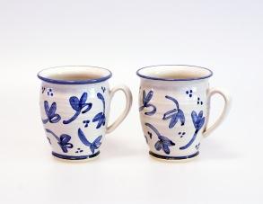 Blå blomma - handdrejad kopp - Blå blomma handdrejad kopp