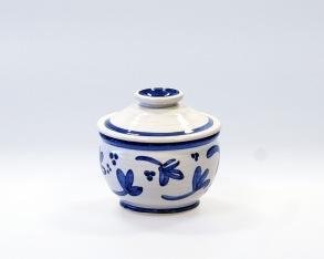 Blå blomma - handdrejad sockerskål -