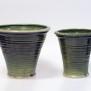 Slinga - krukor i grön glasyr, konkav modell - Liten H 16 cm, Diam 15,5 cm