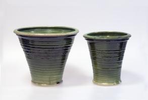 Slinga - krukor i grön glasyr, konkav modell - Stor H 18 cm, Diam 21 cm